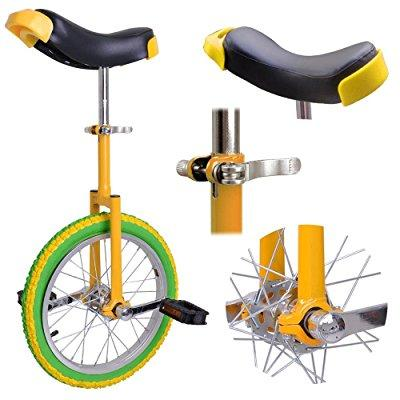 16 wheel unicycle comfort saddle seat skid proof tire chrome 16 inch steel frame yellow green bike cycle