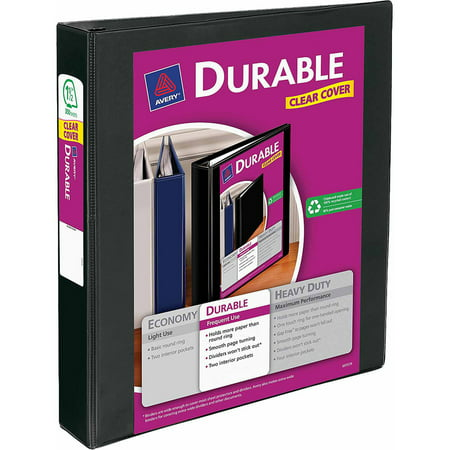 avery 1 5 durable view binder with ez turn ring walmart com