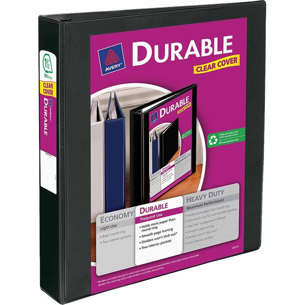"""Avery 1.5"""" Durable View Binder With EZ-Turn Ring"""