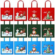 12 Pieces 15.75 by 15.75 Inches Christmas Non-Woven Bags Party Large Bags Tote Treat Bag with Handles for Party Favors, 4 Colors