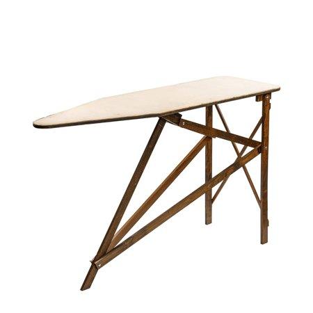 Amish-Made Wooden Ironing Board Dark Finish 07 Weathered Iron Finish