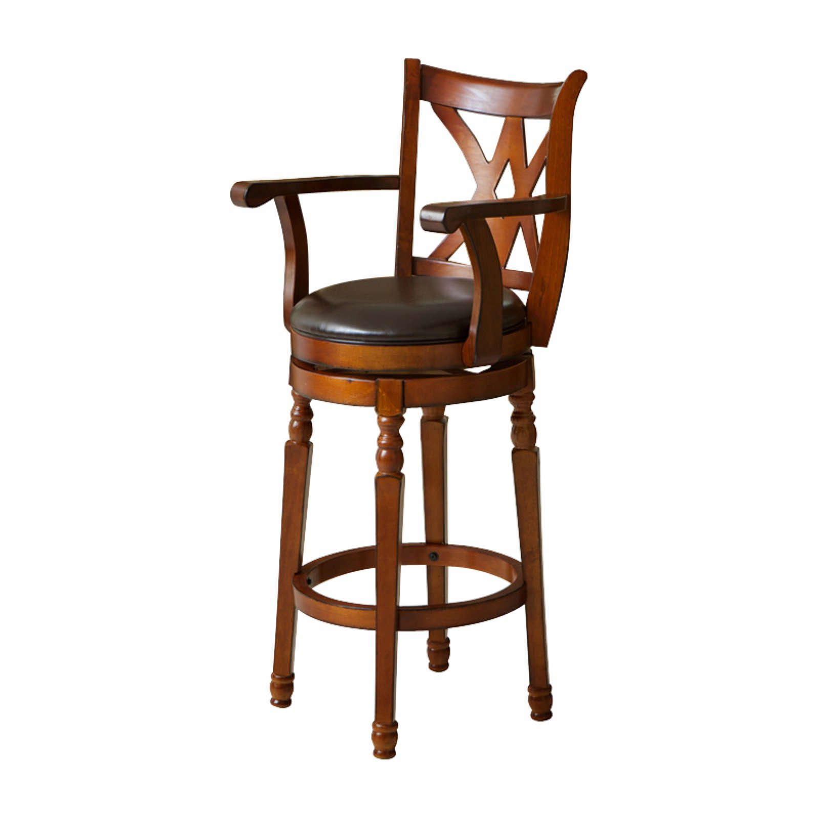 Eclipse Brown Swivel Bar Stool with Arms by Best Selling Home Decor Furniture LLC