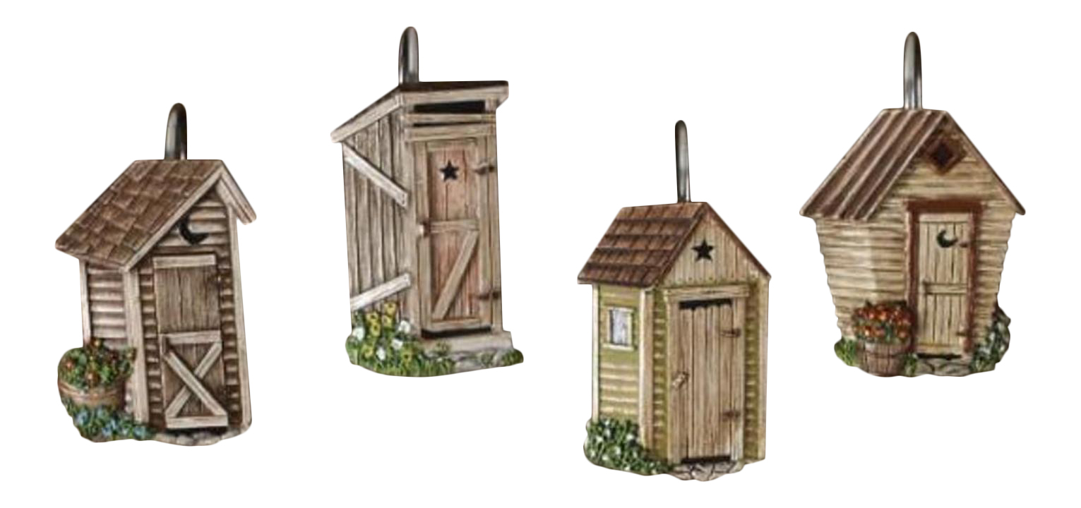 Outhouses Shower Curtain Hooks Country Rustic Bath Decor