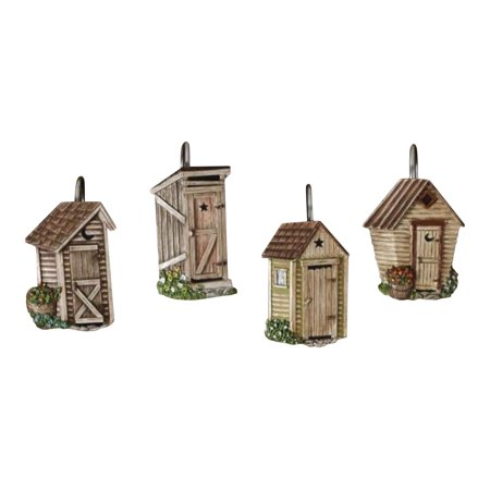 Outhouses Shower Curtain Hooks Country Rustic Bath Decor Outhouse Bathroom Decor