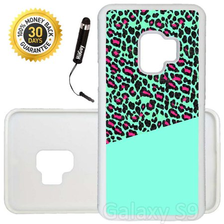 Custom Galaxy S9 Case (Teal Pink Leopard Print) Edge-to-Edge Rubber White Cover Ultra Slim | Lightweight | Includes Stylus Pen by Innosub Pink Leopard Print