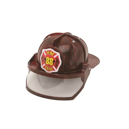 Child Fireman Helmet w/ Visor Fire Chief Fighter Man Firefighter Red Costume Hat