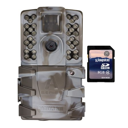 Broadcast Quality 60 Minute Video - Moultrie A-35 14MP 60' HD Video Low Glow IR Game Trail Camera + 8GB SD Card