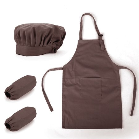 5 Tub Apron - Opromo Colorful Cotton Canvas Kids Apron, Chef Hat and Oversleeve Set, Party Favors(S-XXL)-Coffee-S