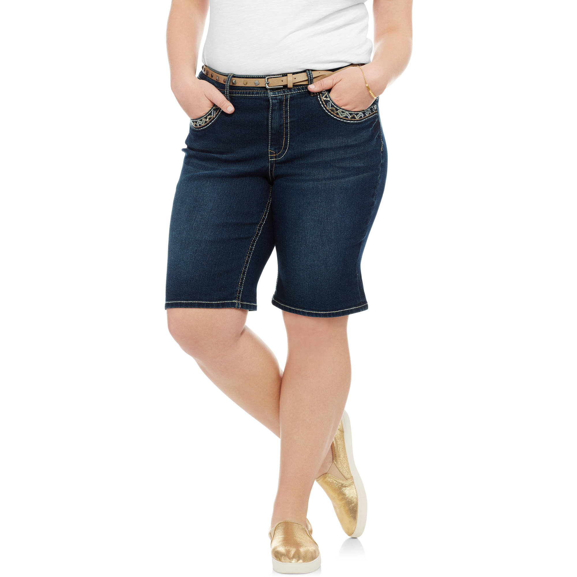 Faded Glory Women's Plus Fashion Denim Bermuda Short