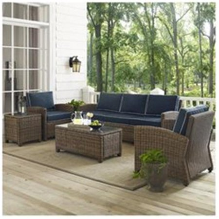 Image of Crosley Furniture Bradenton 5-Piece Outdoor Wicker Sofa Conversation Set with Navy Cushions - Sofa, Two Arm Chairs, Side Table & Glass Top Table