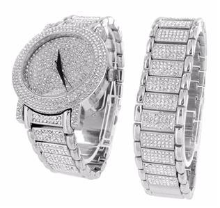 Watch And Bracelet Gift Set For Men 14k White Gold Finish Hiphop Iced Out Lab