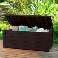Pool Deck Storage Box and Bench is 2 in 1 Multifunctional Patio Seat Resin UV Protected 120-Gallon Pool and Yard Container for Cushions Tile Covers Candles Beach Toys