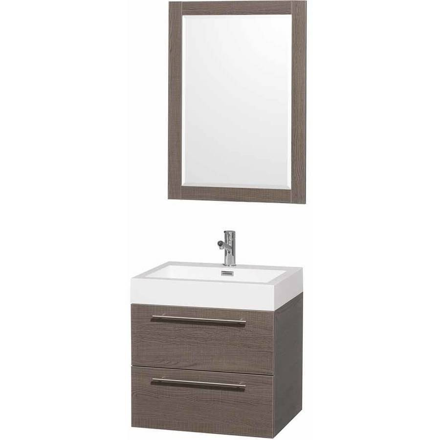 Wyndham Collection Amare 24 inch Single Bathroom Vanity in Gray Oak with Acrylic Resin Top, Integrated Sink, and 24 inch Mirror