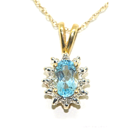 December Birthstone Pendant Necklace Blue Topaz White Gold Plated or Yellow Gold Plated Silver