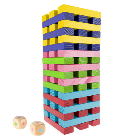 Nontraditional Giant Wooden Blocks Tower Stacking Game with Dice by Hey! Play! (Rainbow Color)