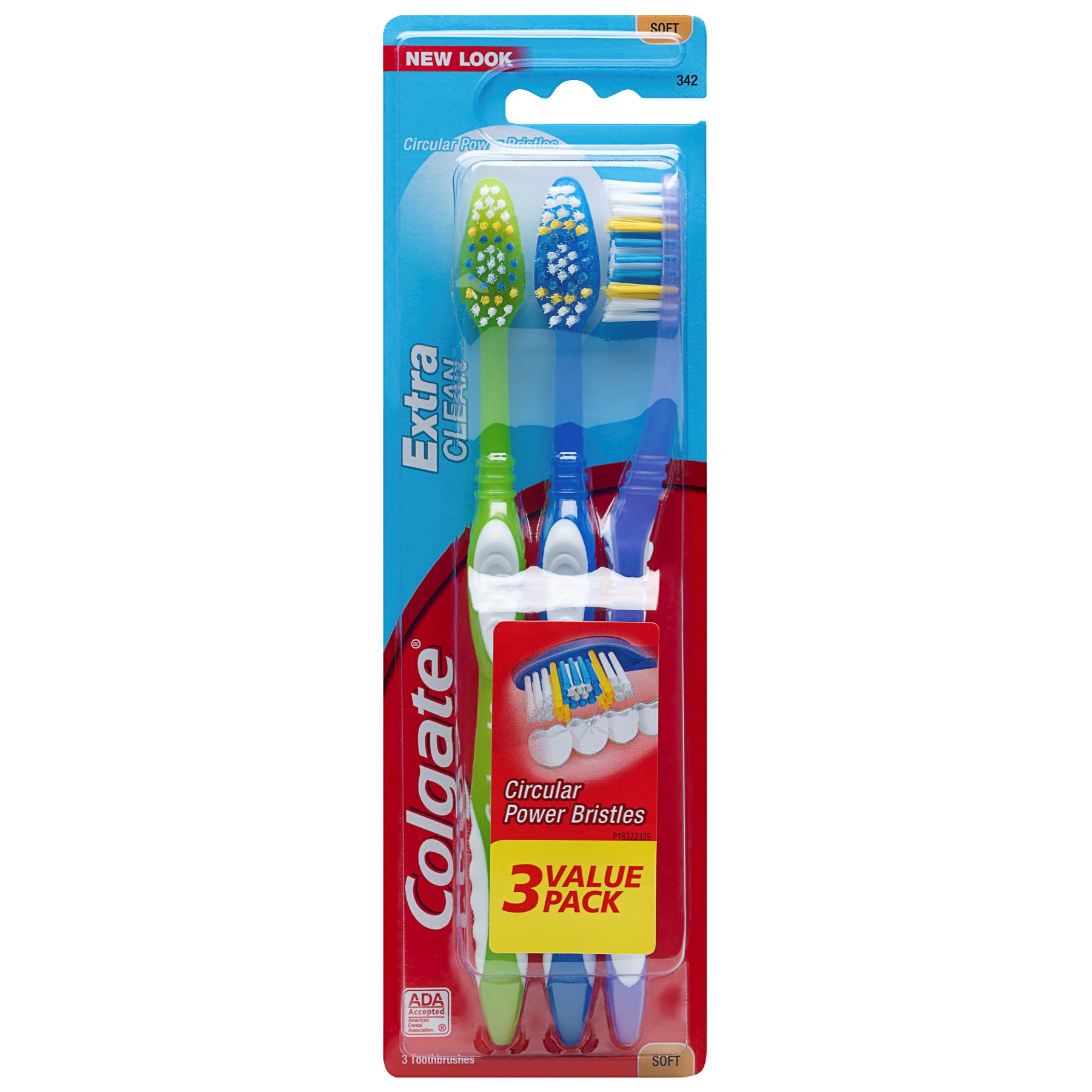 Colgate Extra Clean Full Head Toothbrush, Soft - 3 Count