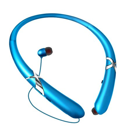 Bluetooth Headphones Waterproof Wireless Flexible Neckband Headset Stereo Noise Reduction Earbuds w/ Mic for iPhone Samsung iPad ()