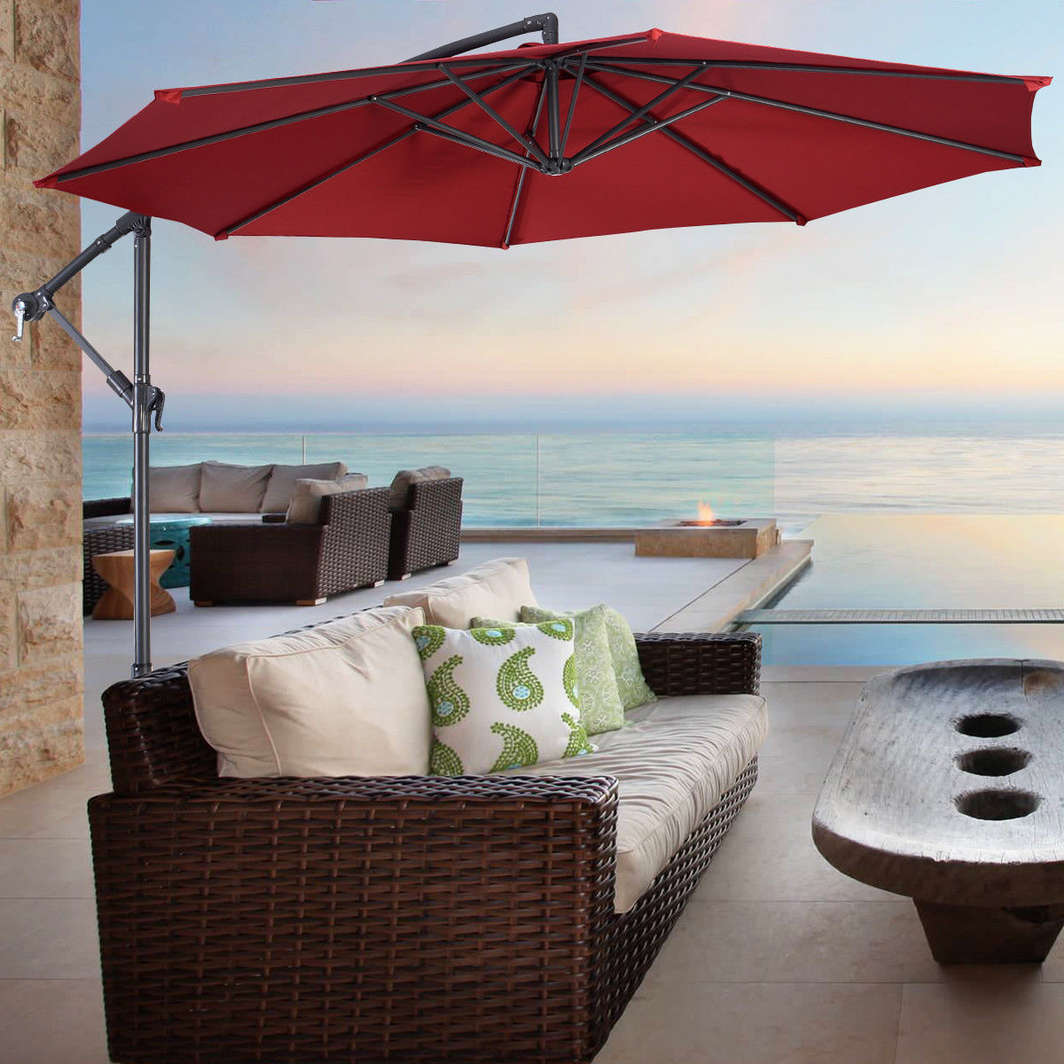 Costway 10' Hanging Umbrella Patio Sun Shade Offset Outdoor Market W/t Cross Base (Burgundy)