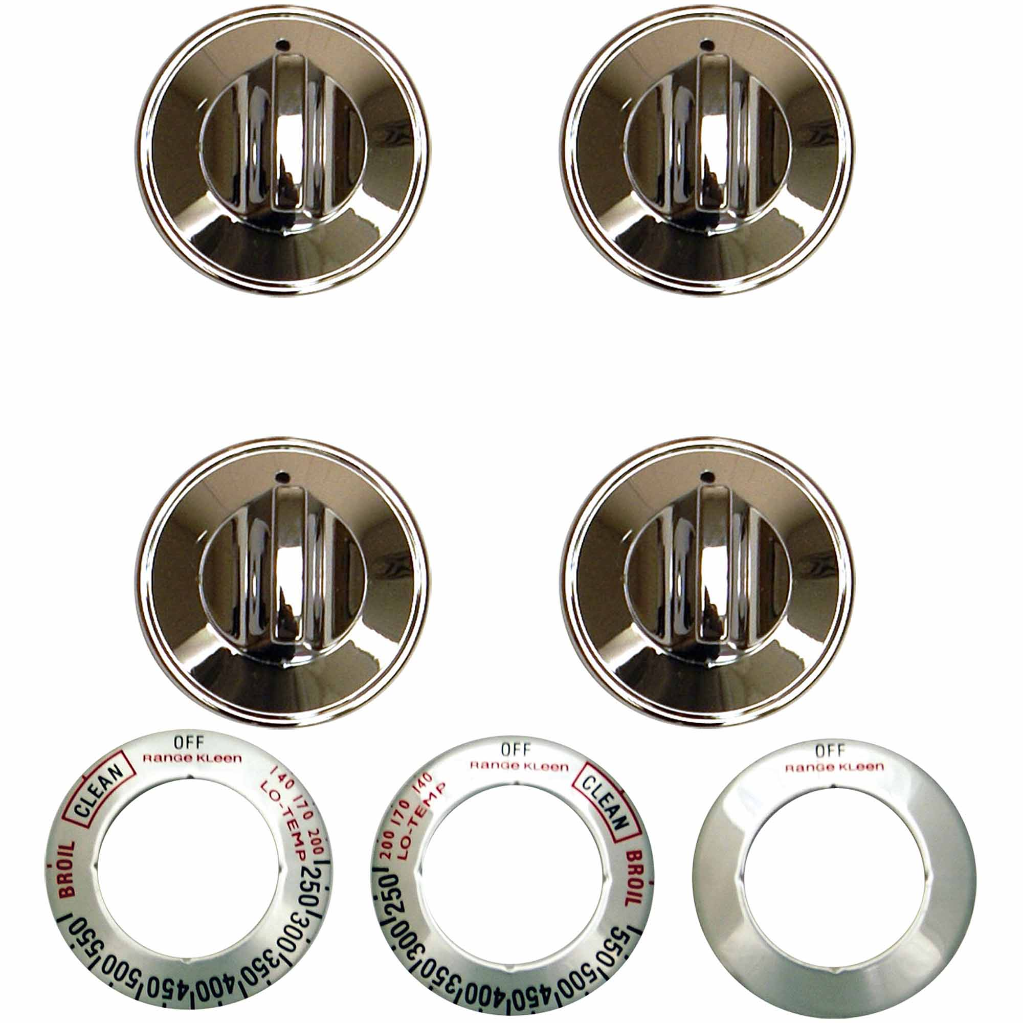 Range Kleen 16-Piece Replacement Knob Kit for 4 Knobs, Gas Ranges, Chrome
