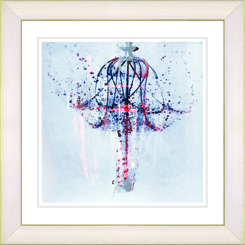 Studio Works Modern 'Water Chandelier' by Zhee Singer Framed Painting Print in Blue