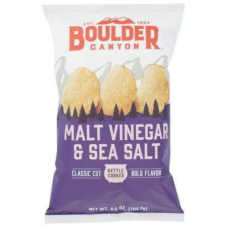 Boulder Canyon Natural Foods Malt Vinegar & Sea Salt Kettle Cooked Potato Chips, 6.5 oz (Pack of 12) No Salt Potato Chips