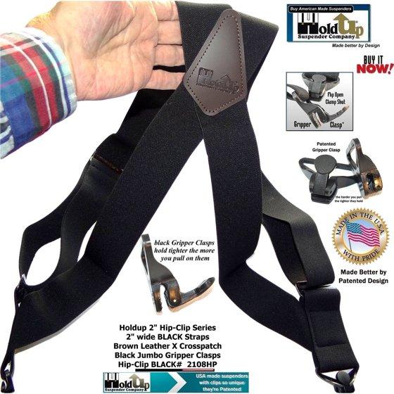 20167df5512 Holdup Suspender Company Inc - Hold-Ups Black Hip-clip X-back 2 ...