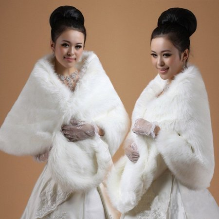 EFINNY White Faux Fur Wrap Women Shawl Cape Bridal Wedding Shrug Winter Warm Jacke (White Fake Fur Shawl)