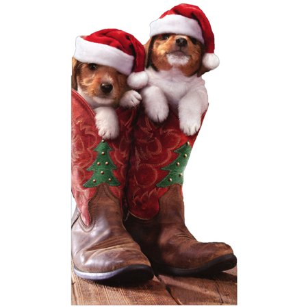 Avanti Press Christmas Puppies in Cowboy Boots Little Big Funny Dog Christmas Card ()