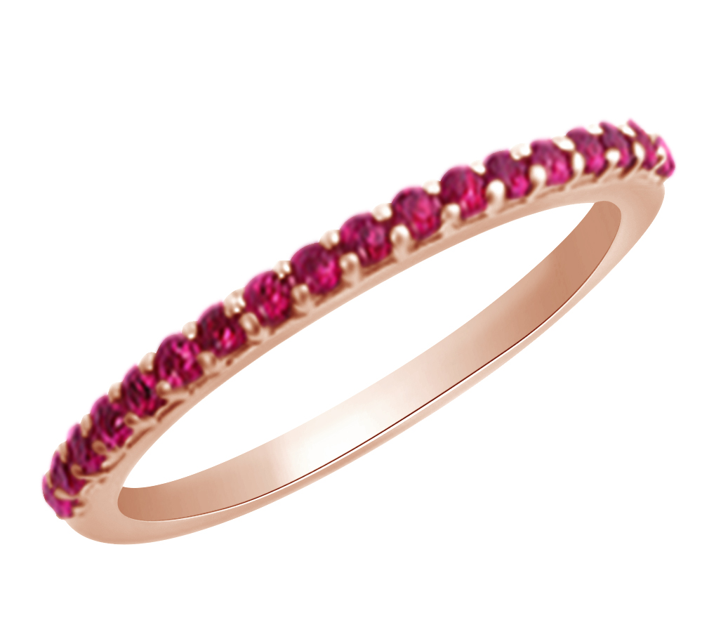 (0.3 cttw) Round Cut Simulated Pink Ruby Wedding Engagement Band Ring In 14k Rose Gold With Ring Size 4 by Jewel Zone US