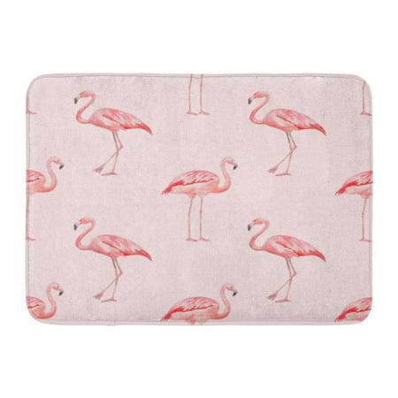 GODPOK Drawing Animal Watercolor Pink Flamingo Pattern Bird Exotic Rug Doormat Bath Mat 23.6x15.7