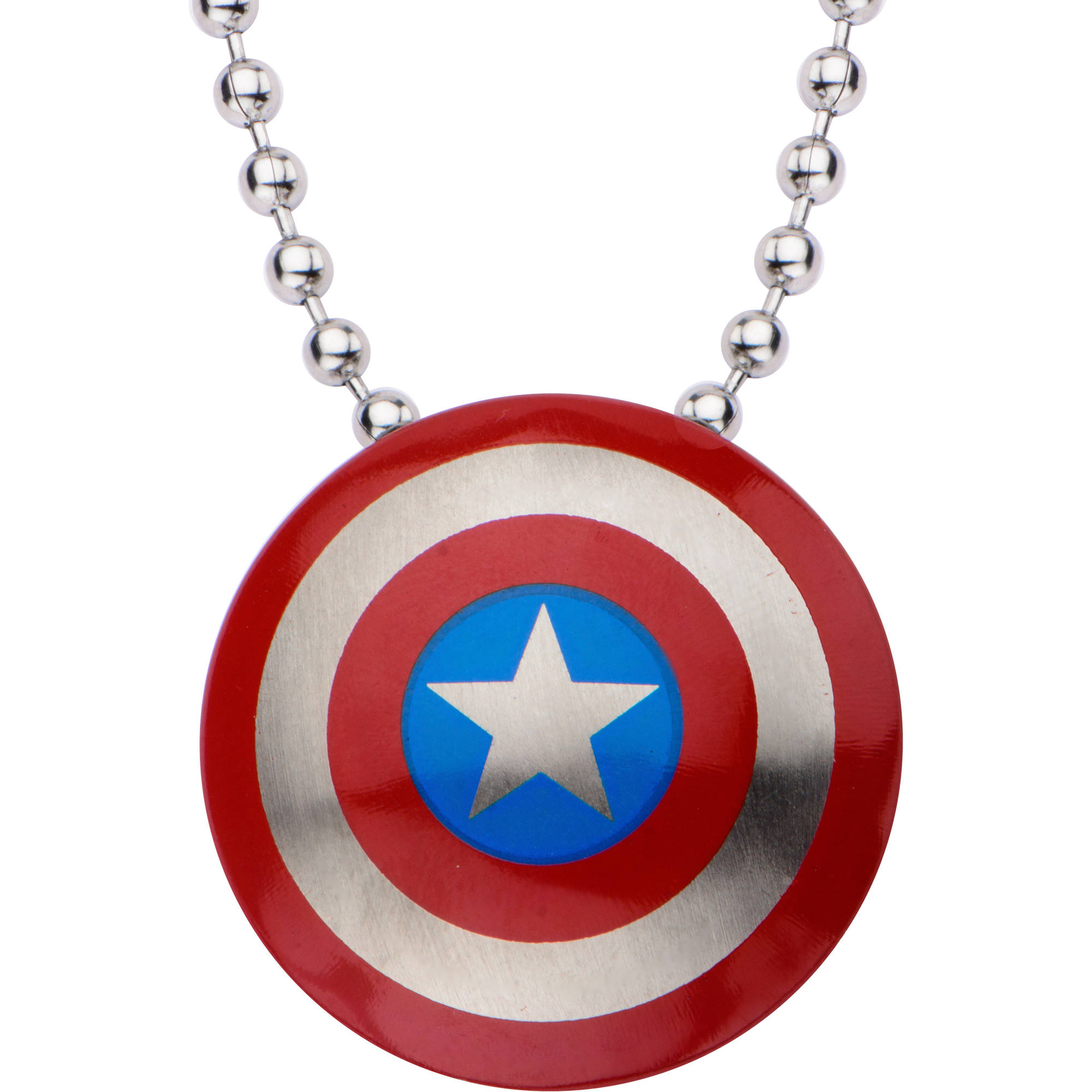 Marvel Stainless Steel Small Captain America Shield Necklace, 22""
