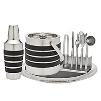 Modern Stripe 7-Piece Leather Stainless Steel Home Bar Cocktail Drink Tool Kit Set with Ice Tongs, Ice Bucket, Bottle... by Godinger Silver Art