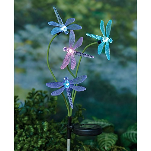 2 Solar Power Dragonfly Sets - Color-Changing Stake