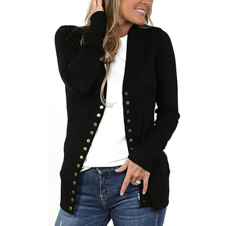 Trim V-neck Cardigan (Women's V-Neck Button Down Knitwear Long Sleeve Soft Basic Knit Snap Cardigan )