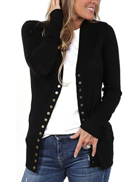 62c6815d6fe8 Product Image Women's V-Neck Button Down Knitwear Long Sleeve Soft Basic  Knit Snap Cardigan