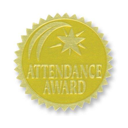 Attendance Award Seal - GOLD FOIL EMBOSSED SEALS ATTENDANCE AWARD
