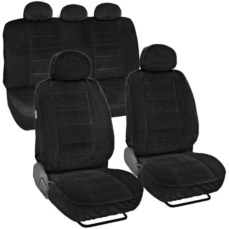 BDK Encore Dotted Cloth Car Seat Covers, 9pc, Front and Rear Full Set, Low Back