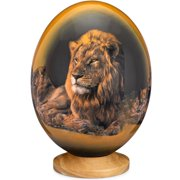 Premium Decorated Ostrich Egg with Wooden Display Stand - Decorative Painted Large Ornamental Eggshell- Lion
