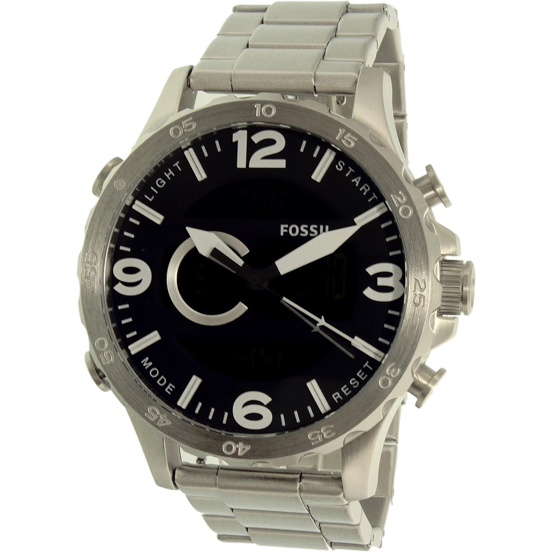 Fossil Men's Nate JR1514 Silver Stainless-Steel Quartz Watch