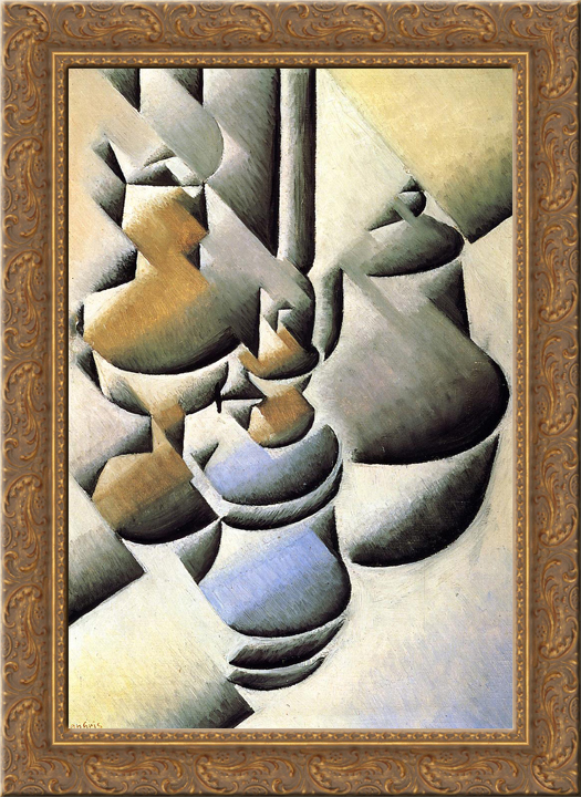 Still Life with Oil Lamp 24x18 Gold Ornate Wood Framed Canvas Art by Juan Gris by FrameToWall