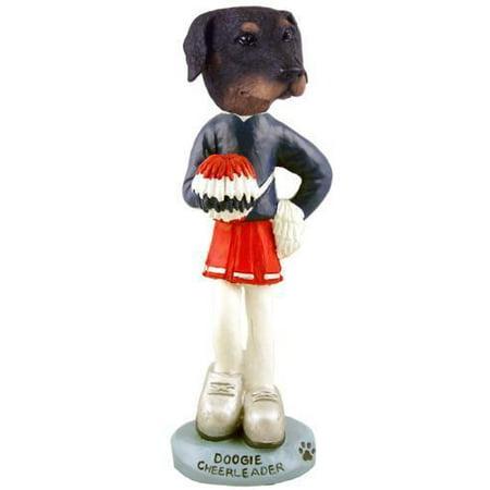 Doberman Pinscher Black Uncropped Cheerleader Doogie Collectable Figurine