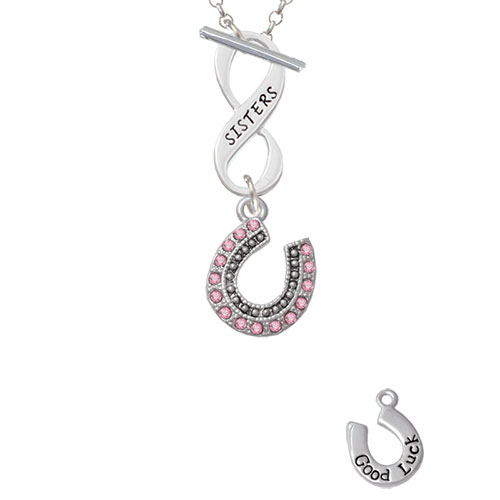 Beaded Pink Crystal Horseshoe with Good Luck Sisters Infinity Toggle Chain Necklace
