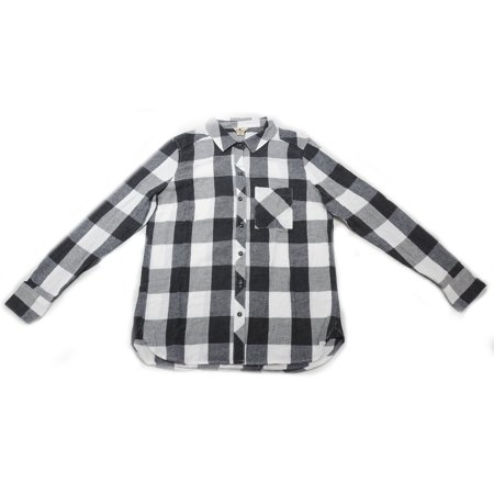 Woolrich Flannel Shirt (Woolrich Womens Size Small Long Sleeve Hi-Low Hem Flannel Shirt, Black White)