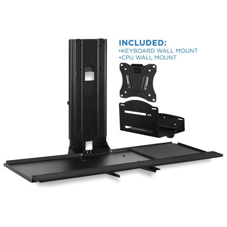 Mount-It! Monitor and Keyboard Wall Mount Workstation With CPU Holder