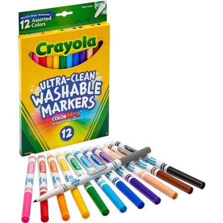 Crayola Washable Markers  Fine Point  Classic Colors  12 Set