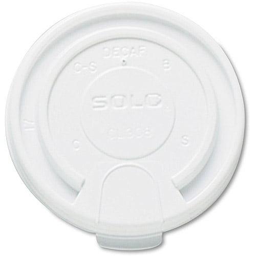 SOLO Cup Company Liftback & Lock Tab Cup Lids for Foam Cups, 16 oz, White, 1000 ct