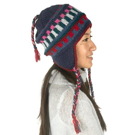 Hand Woven Pure Wool - Warm Winter Wool Hat Fleece Inside Cap Hand Knit Woven Ear Flaps Snow Cold Thick Women Merino Thinsulate Outdoor Blue Splash