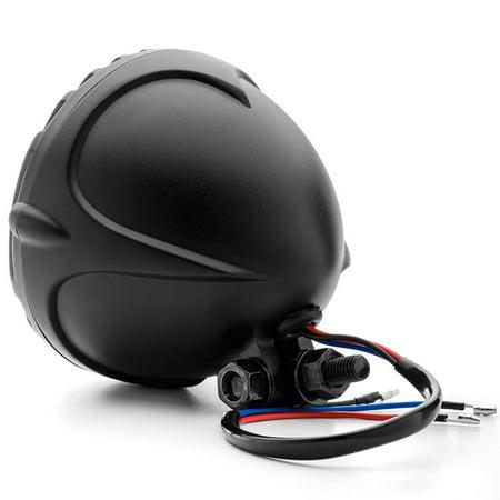 "Krator 5"" Black Vintage Antique Style Grill Prison Chopper Motorcycle Bobber Headlight For Harley Davidson Dyna Glide Fat Bob Street Bob - image 3 of 6"