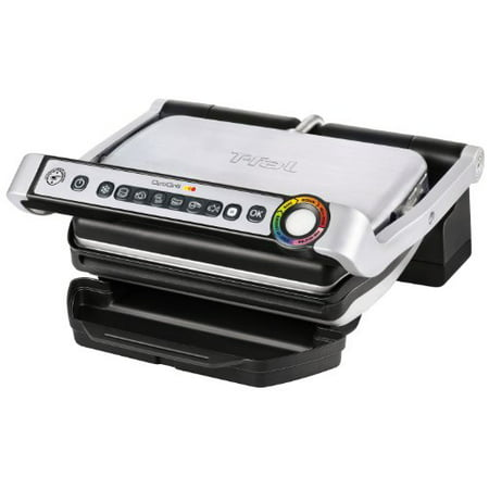 - T-fal GC702 OptiGrill Stainless Steel Indoor Electric Grill with Removable and Dishwasher Safe plates,1800-watt, Silver
