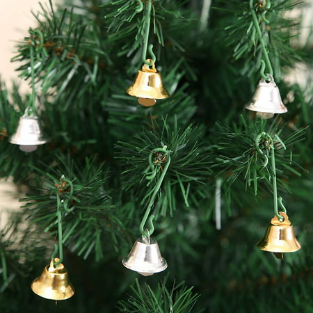 10 Pcs Christmas Bell Gold/Silver Metal Christmas Tree Hanging Decoration Jingle Mini Bells Xmas Home Ornament ()